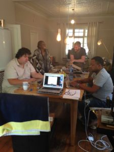 Moerane Critical Edition Workshop 13 January Johannesburg - [1] Marc Roentsch, Ignatia Madalane, Zayne Upton and Kgaugelo Mpyane